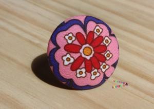 bague bouton fleur rose