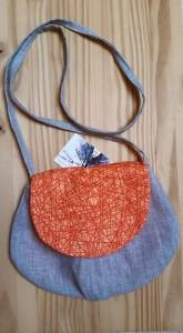 sac besace orange et gris